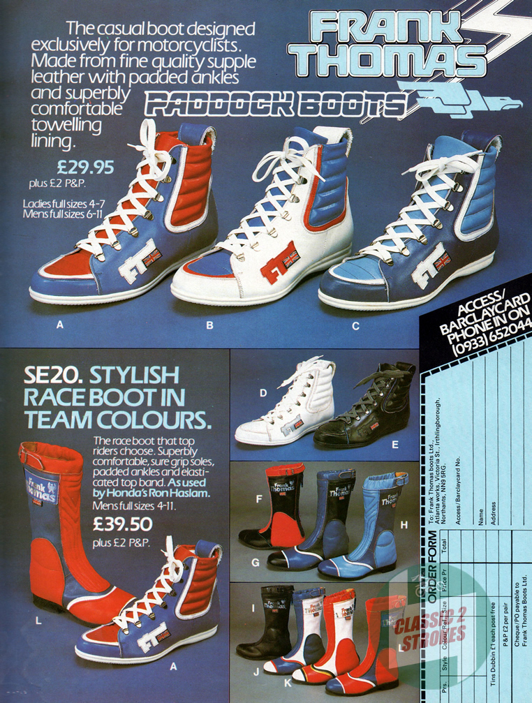 Frank Thomas Motorcycle Boots Advertisement From 1984